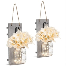 цены Wall Pendant Light String Wrought Iron Hooks White Rustic Hydrangea Led Strip Light Button Battery Light Flower Board