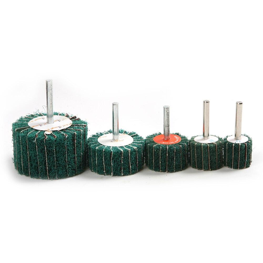 цена на Newest 1PC 6mm Shank Green Polishing Grinding Head Scouring Pad Sanding Wheel Fiber Grinding Wheel for Dremel Accessories Tool