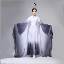 New Chinese folk dance costume ancient ink style female classical Fan clothes traditional yangko stage wear oriental dress