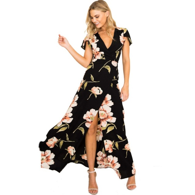 2c004f0c433a7 EFINNY Summer Women Boho Maxi Dress Floral Print Split Long Dress 2018 V- Neck Short