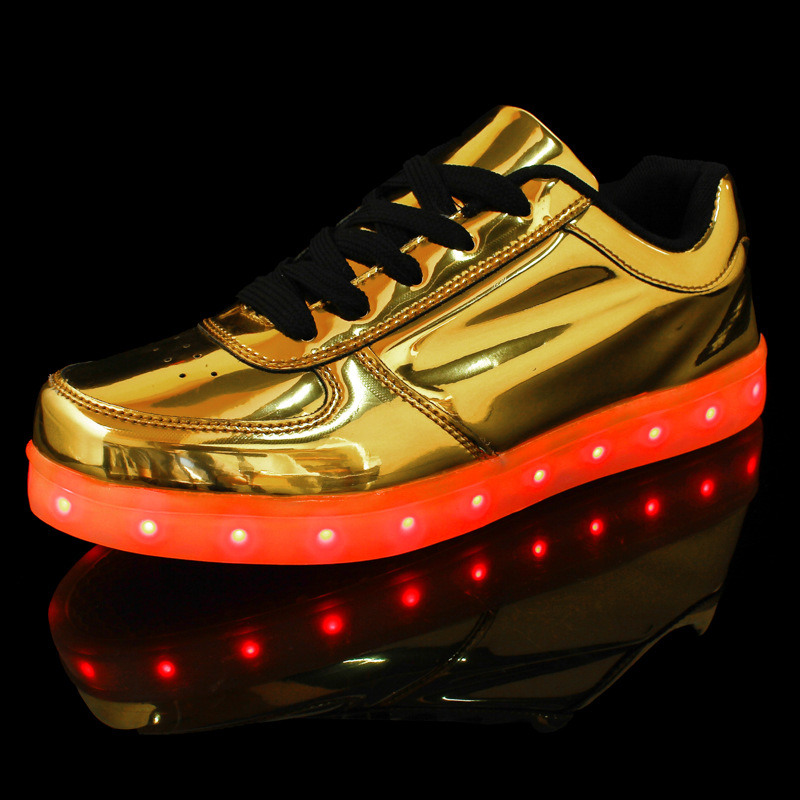 Shoes Couple Luminous Light Mesh Shoes Lace-up Led Light Casual Shoes Colorful Flash Shoes Breathable Sneaker Usb Srecharge Mar 23
