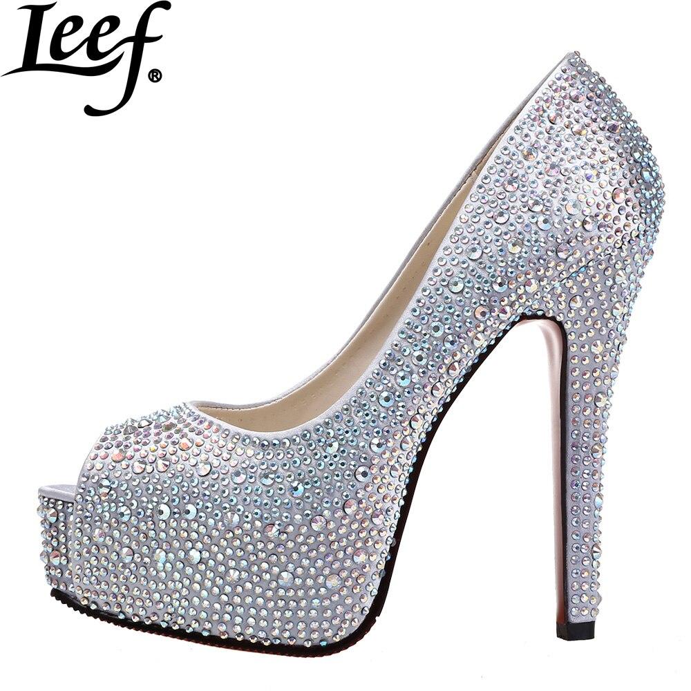 2015 Women Peep Toe High Heels Prom Wedding Shoes Lady