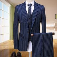 designers 2018 New Blue stripe men suit blazer Groomsmen Suits Slim Fit Mens Wedding Dress Prom Dinner Suit Groom Tuxedos 3piece
