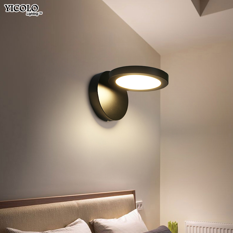 Wall Lamps for living room bedside home Decoration Sconce Lights AC90-260V lamparas de pared white black iron body home fixture