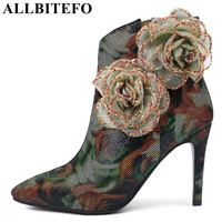 ALLBITEFO brand genuine leather sheepskin women boots flower design Autumn fashion sexy girls ankle boots shoes motorcycle boots