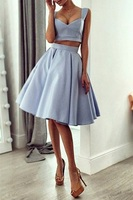Two Pieces Straps Light Blue Cheap Homecoming Dress Knee Length Chic Prom Party Dresses