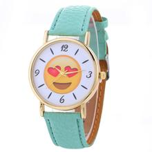 Women's Watch Neutral Cute Expression Fashion Leather Quartz Wrist Watch Top Gifts Jewelry & Watches wristwatches JY26
