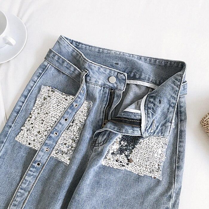 дешево!  Джинсы с высокой талией Женские брюки до щиколотки Прямые повседневные повседневные застежки-молни�