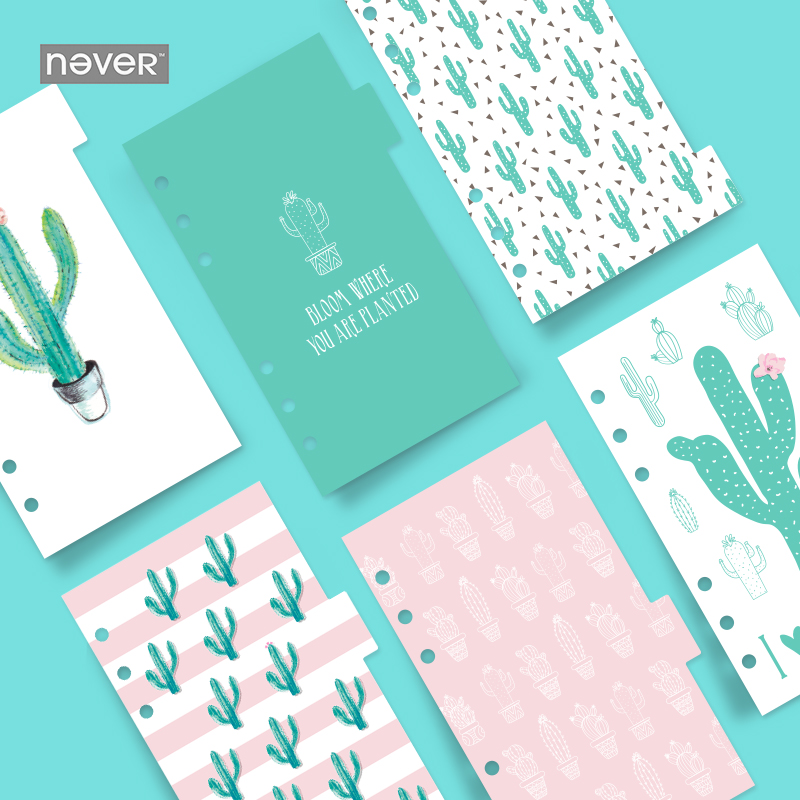 NEVER Cactus Series Notebook Dividers Index page for Filofax A6 Personal Planner Accessories Stationery office & school supplies never korean spiral notebook 6 hole loose leaf inside page index page for filofax planner a6 dividers bookmark school stationery