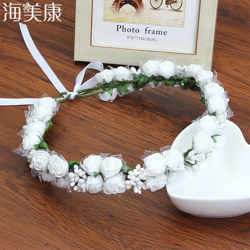 HaimeikangWomen Flower Crown Headband Floral Hairband Festival Wedding Accessories Headdress