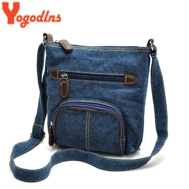 Fashion blue denim shoulder bags women handbag classical European Women messenger bag front pocket cowboy bags