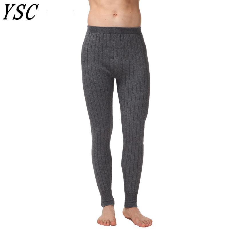 7361f6ec36972 YUNSHUCLOSET New style Men 's Cashmere Wool Warm Pants Knitted Long Johns  Spandex Tights trousers Underwear Sexy Free Shipping