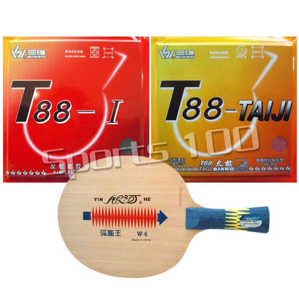 Pro Table Tennis PingPong Combo Racket Galaxy YINHE W-6 with Sanwei T88-TAIJI and T88-I Long Shakehand FL yinhe milky way galaxy n9s table tennis pingpong blade long shakehand fl