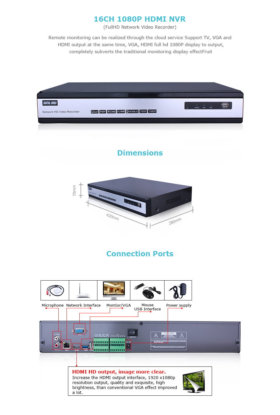 13-IP POE 1080P 16CH NVR
