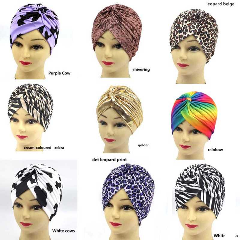 Leopard-print Indian hat Muslim hijab Arabian hat yoga hat Turban Hat Stretchy Fashion Soft Cross Hair Accessories Muslim hat