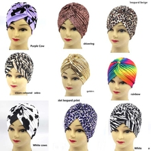 Leopard-print Indian hat Muslim hijab Arabian yoga Turban Hat Stretchy Fashion Soft Cross Hair Accessories