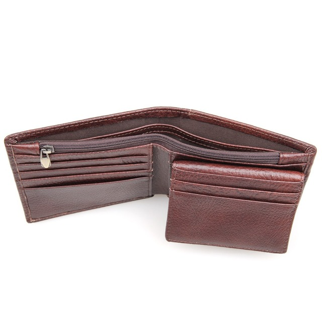 Natural Cow Leather Short Wallet RFID Blocking Credit Card Case For Men Daily Money Purse R-8142-3C