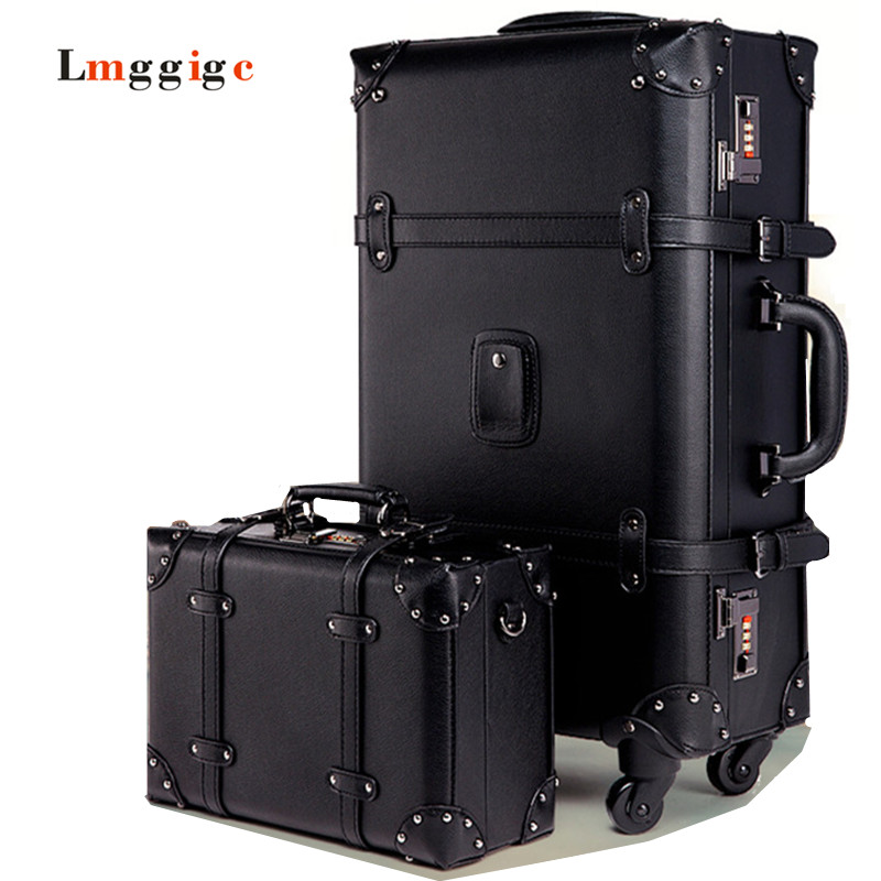Vintage Luggage,black Retro Suitcase,High quality PU Travel bag,Spinner Rolling Trolley Carry-Ons,Roller Rod Box ,Cosmetic case travel aluminum blue dji mavic pro storage bag case box suitcase for drone battery remote controller accessories
