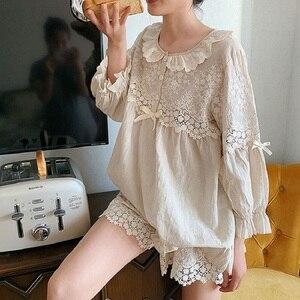 Image 3 - Summer Soft Linen Womens Pajamas Sets Sweet Shorts Pajamas Vintage Long Sleeve Sleepwear Autumn Nightwear Plus Size