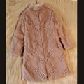 Natural rabbit fur winter coats women slim X-long full pelt embroidery fur coat outerwear women's jacket plus size