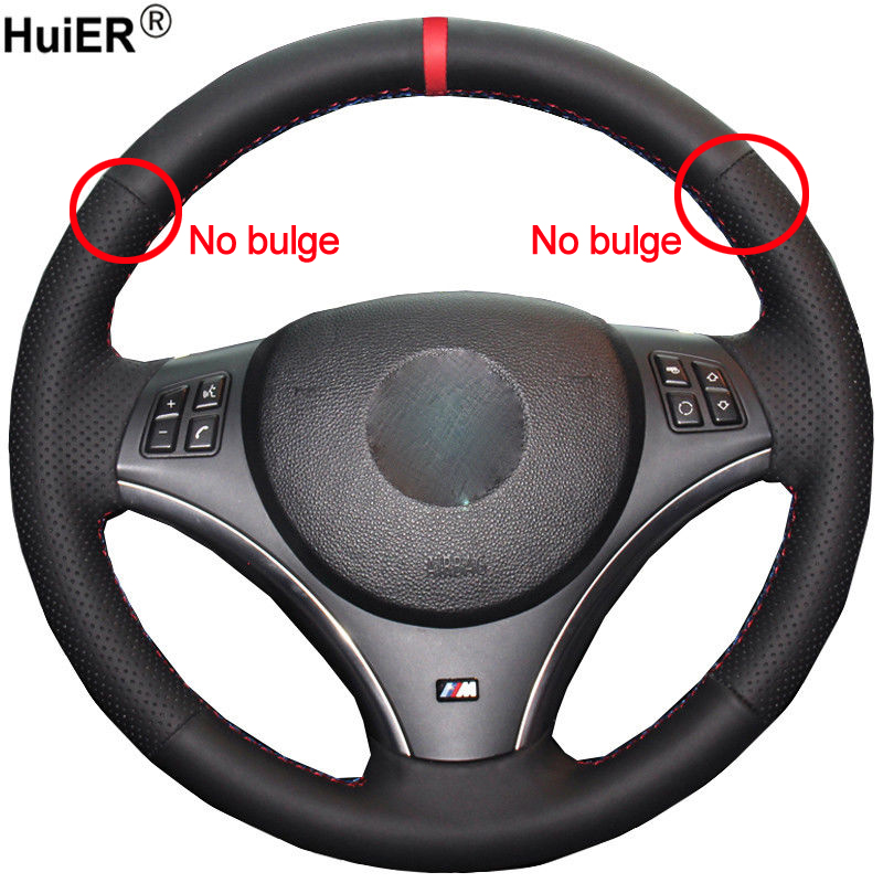 HuiER Hand Sew <font><b>Car</b></font> Steering <font><b>Wheel</b></font> Cover Volant Funda Volante For BMW E90 325i 330i 335i E87 120i 130i 120d (No <font><b>Drum</b></font> kits ) image