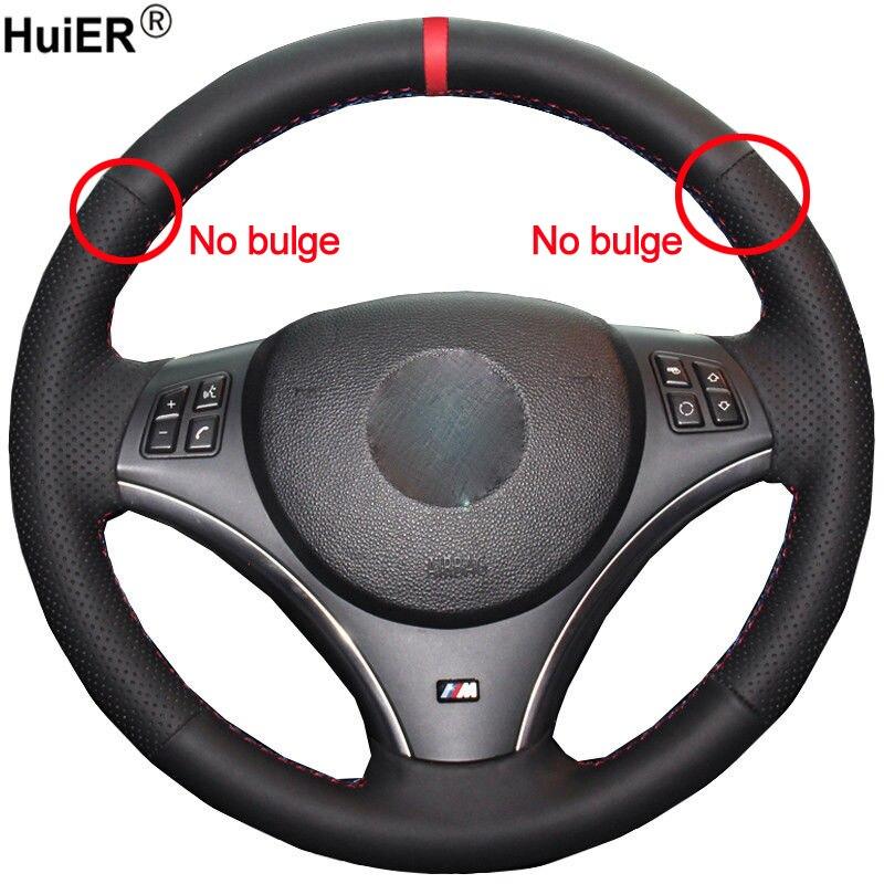 HuiER main coudre voiture Volant couverture Volant Funda Volante pour BMW E90 325i 330i 335i E87 120i 130i 120d (pas de kits de tambour)