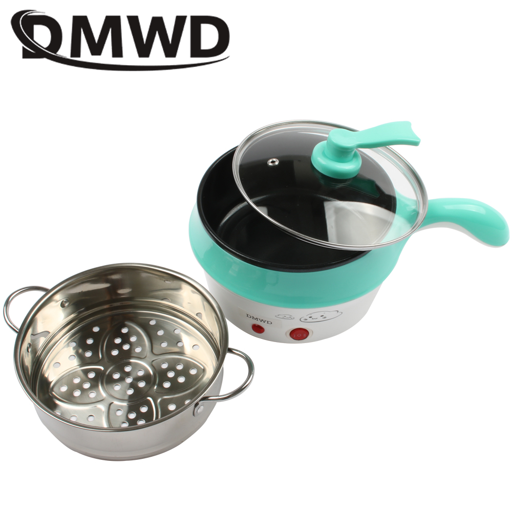 DMWD Multifunction Electric Double Layer Hotpot Mini noodles cooker non-stick skillet Steamed eggs Soup Cooking pot Food Steamer multifunction electric skillet stainless steel hot pot noodles rice cooker steamed egg steamer soup pot for students dormitory
