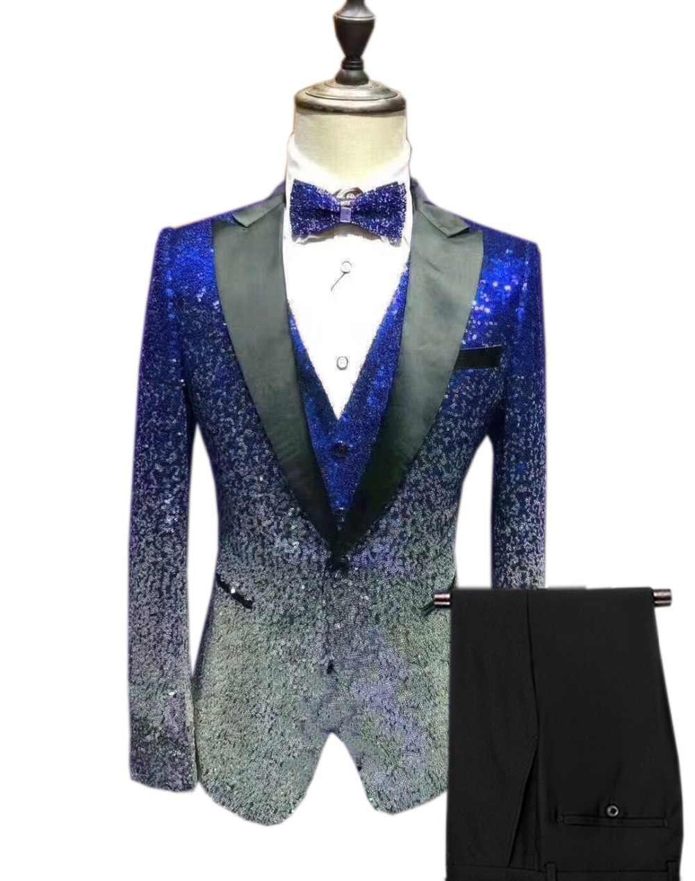 メンズスパンコールスーツ 3 個光沢のあるスリムフィットタキシードピークノッチラペルパーティー結婚式新郎宴会ナイトクラブ (ブレザー + ベスト + パンツ)