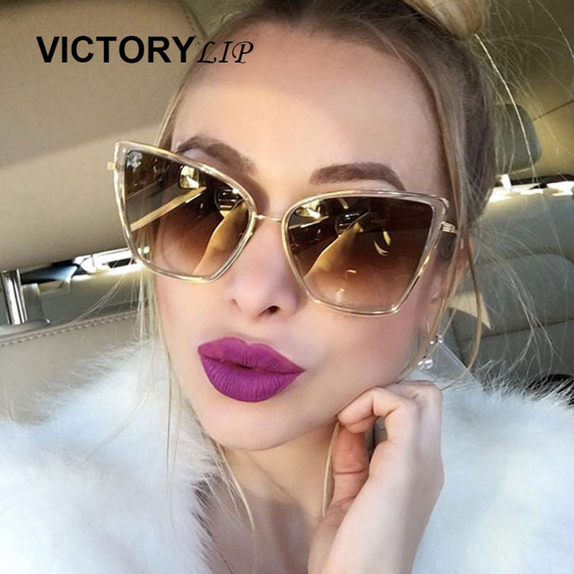 c763d3b6e9 VictoryLip Oversized Sunglasses Women Fashion Cat Eye Sunglass 2018 CatEye  HiP Hop Vintage Brand Designer Champagne Sun Glasses