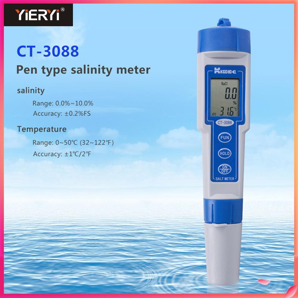 Yieryi numérique étanche compteur de sel gamme 0.0% à 10.0% Aquarium qualité de l'eau sel piscine testeur stylo Type testeur salinomètre