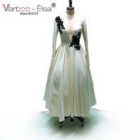 VARBOO_ELSA Custom Made 2017 Robe de Soirée Blanc Satin À Manches Longues col En V Profond de Soirée Partie Robe Appliques Arabe Robe De Bal