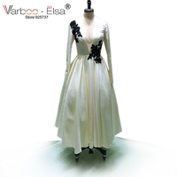 VARBOO ELSA Custom Made 2017 Evening Dress White Satin Long Sleeve Deep V Neck Evening Party