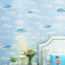 Warm whale cartoon British wind wallpaper children's room boys and girls non-woven bedroom wallpaper living room wall rolls environmental protection non woven wallpaper children s room cartoon color lovely dot wall paper 3d boys and girls bedroom decor