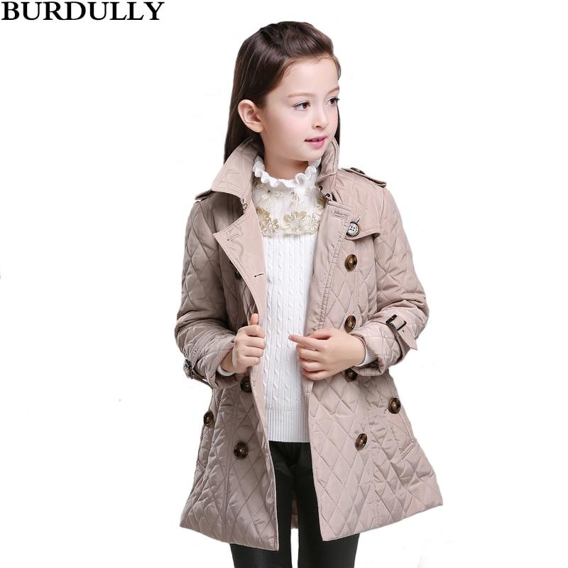 BURBULLY 2017 Winter Girls Coat Kids Invisible Diamond-shaped lattice - Children's Clothing
