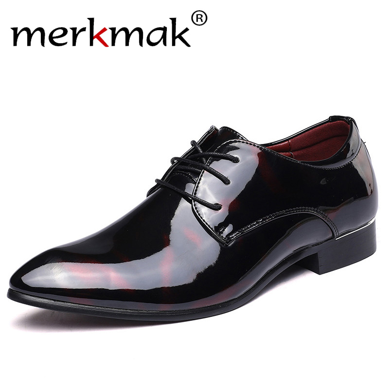 Merkmak Leather Oxford Shoes For Men Dress Shoes Men Formal Shoes Pointed Toe Business Wedding Italian Shoes Plus Size 49 50