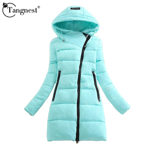 TANGNEST 2016 Thick Solid Color Coat Winter Fashion Causal Slim Hooded Cotton Blends Warm Patchwork Parkas  WWM1487