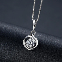 Authentic 925 Sterling Silver Fine Jewelry Classic Wedding Sterling-Silver-Jewelry Rose Necklaces For Women Collier Femme N208