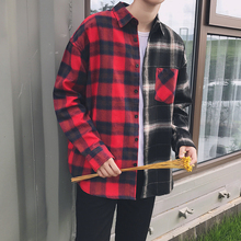 2017 Fall Two Colors Stitching of the Mens Casual Fashion Grid Designed with Loose long-sleeved cotton keep warm mens Shirts