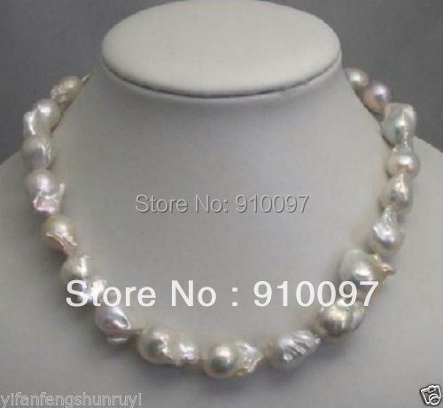 free shipping >>>HUGE -- CHARMING SOUTH SEA WHITE BAROQUE PEARL NECKLACE 18