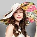 Sombreros de verano para las mujeres del sombrero del sol de las mujeres de moda Flor Plegable de Ala Ancha para Las Mujeres Al Aire Libre Protección UV