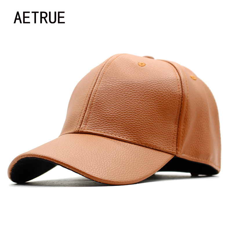 8004def0241 Fashion Baseball Cap Men Leather Snapback Caps Women PU Blank Plain Bone  Winter Hats For Men Gorras Flat Hip hop Solid Caps 2018