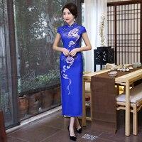 Shanghai Story Faux Silk Chinese Cheongsam Dress Short Sleeve Long Qipao Vintage Chinese Oriental Dress For