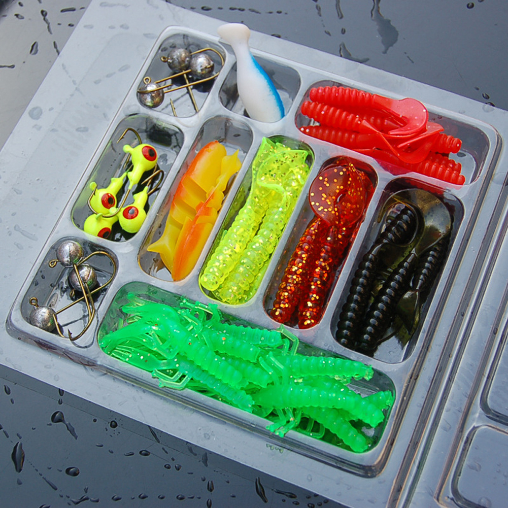 35Pcs/Box Mixed Fishing Lure Hook Set Kit Soft Artificial Worm Shrimp Minnow Baits Lead Jig Head Hooks Sea Fishing pesca Tools 50pcs mix soft lure grub worm capuchin maggots fishing jig head hook bait set