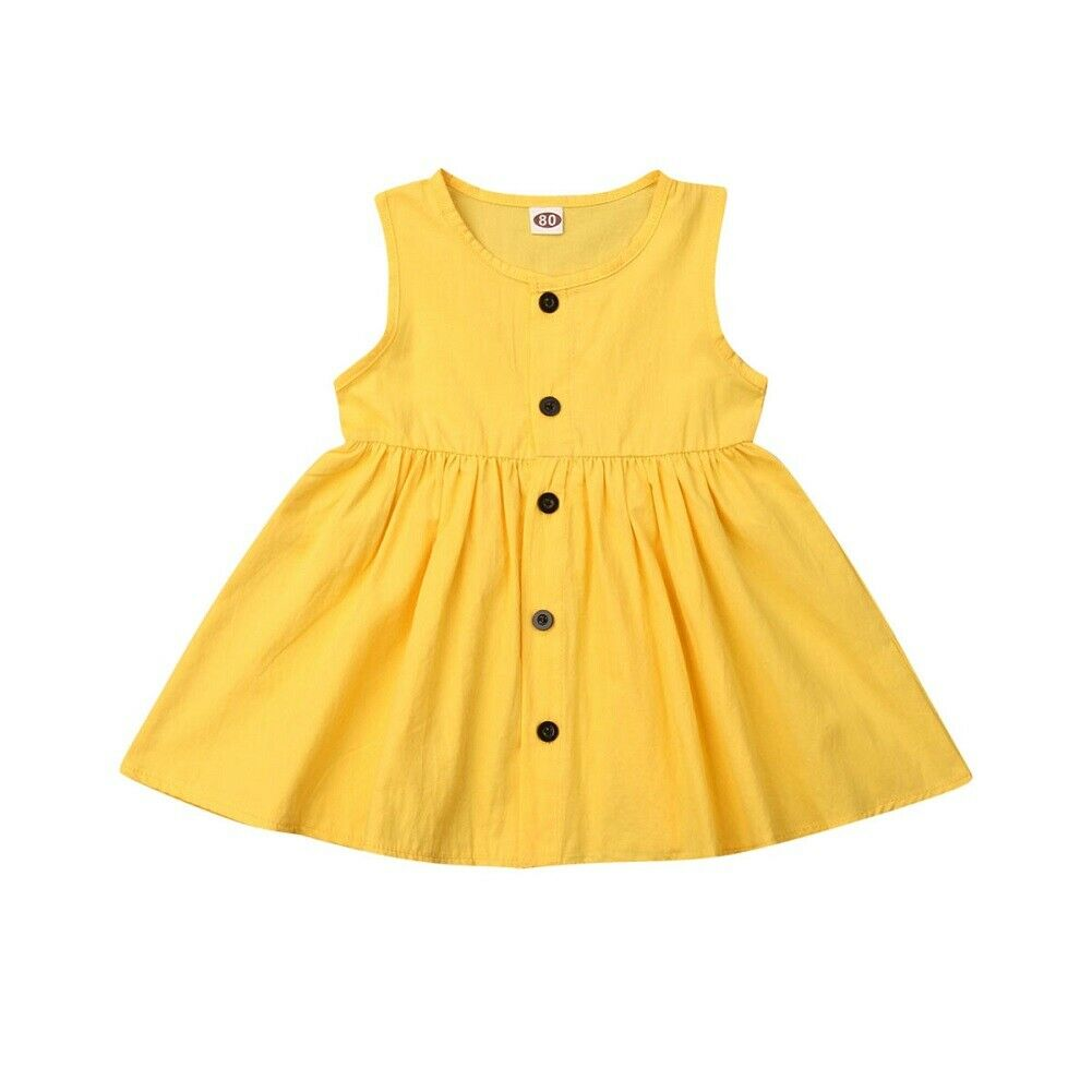 Cute baby princess dress newborn girl dress casual simple solid color single-breasted sleeveless children's clothes(China)