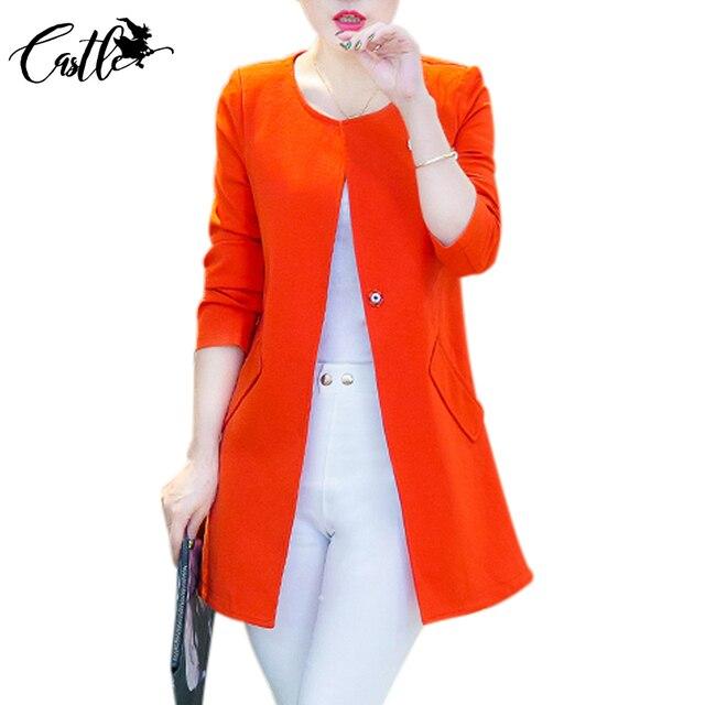 Mulheres de outono Fino Casaco Blazer 2017 Nova Moda Casual Casaco Longo manga comprida One Button Suit Blazers Senhoras Desgaste do Trabalho Plus Size XXL