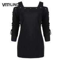 VESTLINDA Rivet Cold Shoulder Lace Up Long Sleeve T Shirt Top Women Autumn Black T Shirts