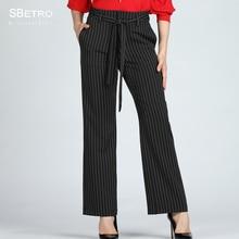 b1d89aef78 SBetro Oficina dama pantalones de pierna ancha negro a rayas marco detalle  3XL Plus tamaño mujeres otoño pantalones largos Panta.