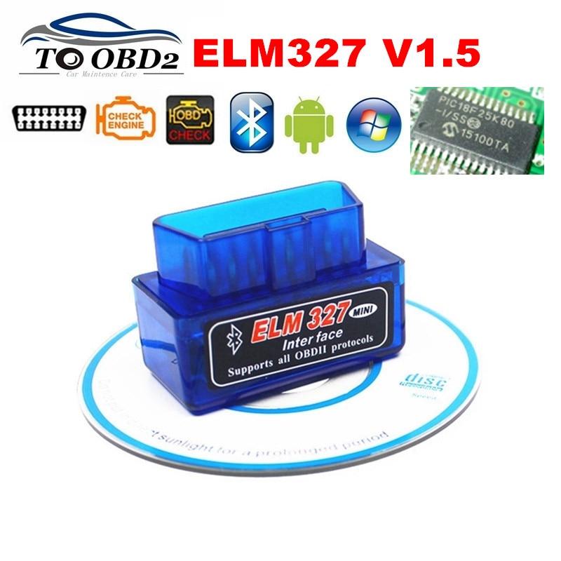 Prix pour ELM327 V1.5 Matériel Stable Fonction OBD OBDII Lecteur de Code ELM 327 Bluetooth V1.5 Travaux SUR Android Couple Voiture De Diagnostic SCAN