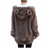Hot Koop Vrouwen Hoodies Rits Meisje Winter Losse Pluizige Bear Oor Hoodie Capuchon Warm Bovenkleding Jas leuke sweatshirt