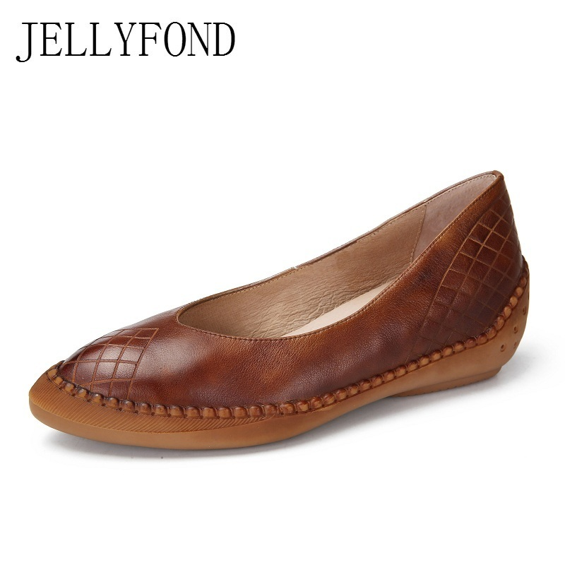 Original Designer 2018 Vintage Style Handmade Genuine Leather Women Pumps Pointed Toe Slip On Wedge Platform Shoes Woman 2017 vintage style real leather women flats brife pointed toe slip on handmade genuine leather designer shoes woman